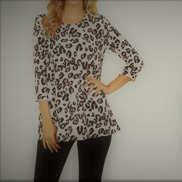 Riah Fashion Tops - Riah Fashion Animal Print Keyhole-Back Tunic L